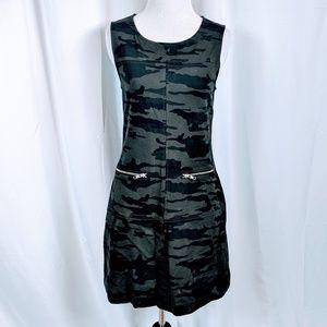 Sanctuary Gray Army Print Sleeveless Dress